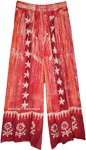 Star Print Hippie Wide Leg Long Rayon Pants