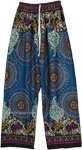 Teal Mandala Printed Wide Leg Rayon Pants