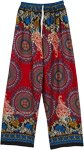 Robust Red Boho Rayon Pants with Mandala Prints