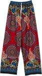 Robust Red Boho Rayon Pants with Mandala Prints