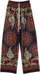 Boho Floral and Mandala Printed Wide Leg Rayon Pants