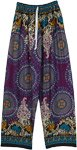 Violet Rayon Pants with Ethnic Mandala Prints