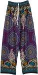Violet Rayon Pants with Ethnic Mandala Prints