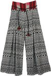 Flared Printed Palazzo Boho Pants with Box Pleats