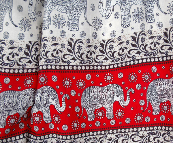 Red Elephant Print Harem Pants with Elastic Bottom