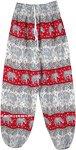 Red Elephant Print Harem Pants with Elastic Bottom