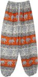 Fire Orange Elephant Parade Elastic Bottom Harem Pants