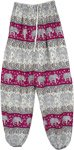 Hippie Harem Pants in White Purple with Elastic Bottom