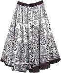 Black White Floral Printed Full Flare Cotton Skirt