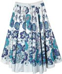 Santorini White Flared Cotton Skirt in Blue Florals