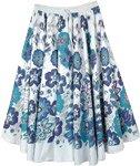 Santorini White Flared Cotton Skirt in Blue Florals