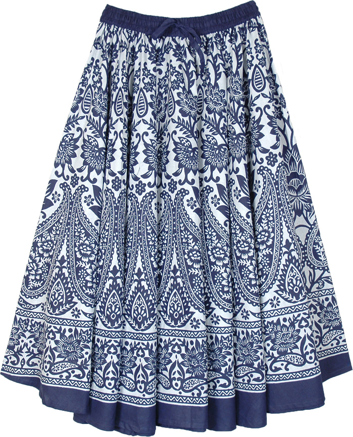 Blue Paisley and White Mid Length Printed Cotton Skirt
