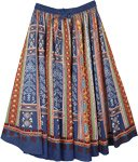 Blue Grace Full Circular Cotton Skirt with Aztec Print