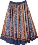 Blue Grace Full Circular Cotton Skirt with Aztec Print