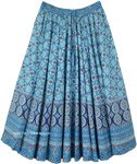 Sky Blue Flared Boho Printed Cotton Skirt