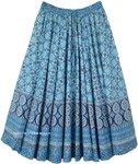 Sky Blue Flared Boho Printed Cotton Skirt