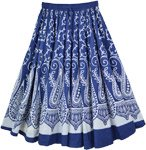 White Blue Paisley Print Midi Length Cotton Skirt