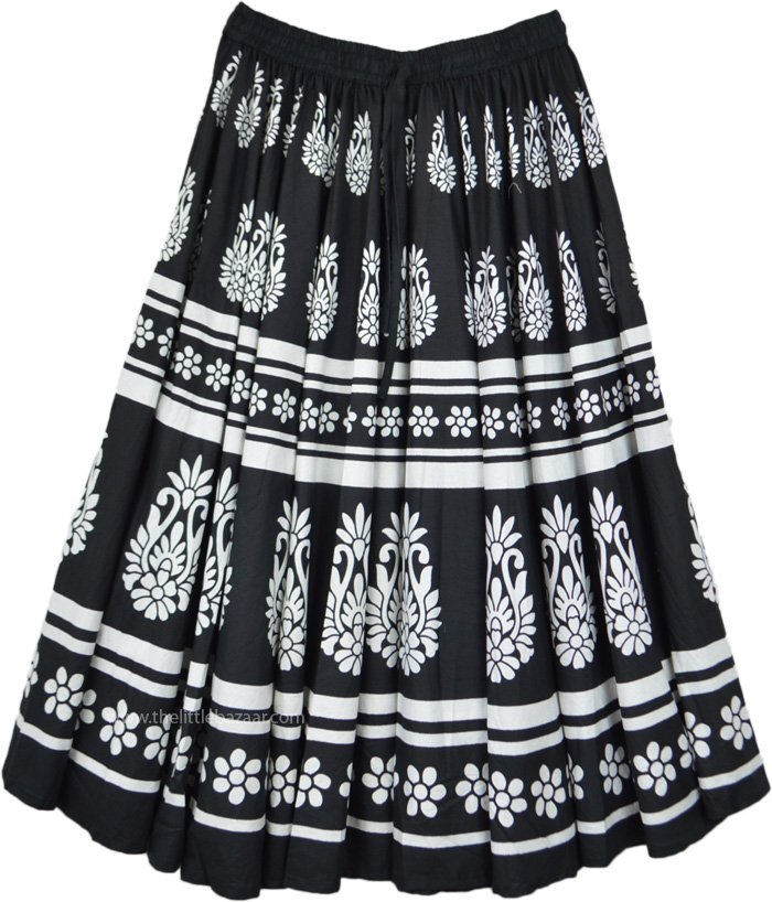Black Cotton Full Midi Skirt with White Print