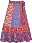 Ethnic Floral Blue Orange Boho Wrap Skirt in Cotton
