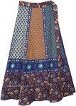 Ethnic Floral Blue Brown Boho Cotton Wrap Skirt
