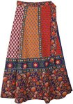 Ethnic Floral Blue Orange Cotton Wrap Skirt