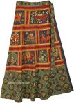 Ethnic Printed Green Elephant Cotton Wrap Around Skirt