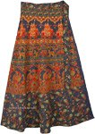 Floral Royal Blue Elephant Wrap Around Skirt