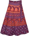 Deep Purple Wrap Skirt with Printed Traditional Motifs
