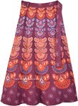 Ethnic Purple Maroon and Orange Boho Wrap Skirt in Cotton