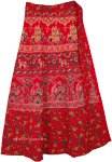 Red Wrap Skirt with Printed Traditional Motifs