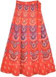 Ethnic Block Print Cotton Wrap Skirt in Orange Red
