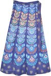 Bright Blue Ethnic Block Print Cotton Wrap Skirt