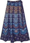 Navy Blue Ethnic Block Print Cotton Wrap Around Skirt