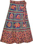 Ethnic Printed Animal Navy Cotton Wrapper