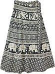 Black White Ethnic Printed Animal Wrap Skirt