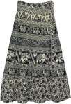 Black and White Elephant Folk Tale Print Wrap Skirt