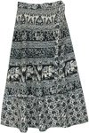 Ethnic Folk Tale Print Wrap Around Skirt in Black and White