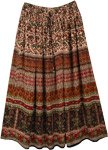 Brown Bagru Print Rayon Skirt with Paisley Print