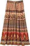 Tribal Print Floral Paisley Long Gypsy Skirt