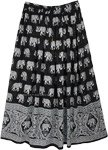Black White Elephant Block Print Rayon Long Skirt