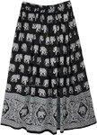 Black White Elephant Block Print Rayon Long Skirt