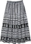 Black and White Ethnic Tribal Printed Rayon Skirt
