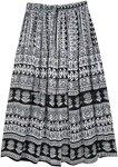 Black and White Ethnic Tribal Printed Rayon Skirt