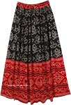 Black and Red Bandhej Printed Rayon Long Skirt