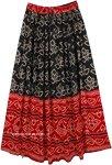 Black and Red Bandhej Printed Rayon Long Skirt