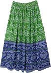 Green Blue Festival Block Print Rayon Long Skirt