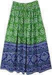 Green Blue Festival Block Print Rayon Long Skirt