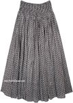 Dusty Boho Cotton Maxi Full Skirt with Smocked Waist