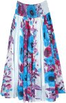 White and Blue Floral Long Cotton Skirt with Smocked Waist