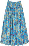 Flower Shower Cotton Voile Smocked Waist Skirt in Blue